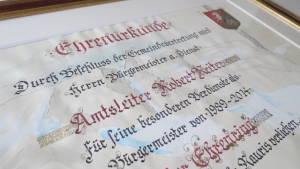Ehrenurkunde Robert Reiter, Rauris
