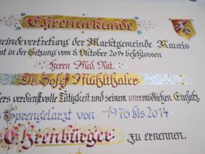 Urkunde Ehrenring, Dr. Mühlthaler, Rauris